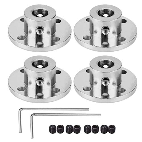 4 Pack 8mm Flange Coupling Connector, Rigid Guide Steel Model Coupler Accessory, Shaft Axis Fittings for DIY RC Model Motors, High Hardness Coupling Connector-Silver.
