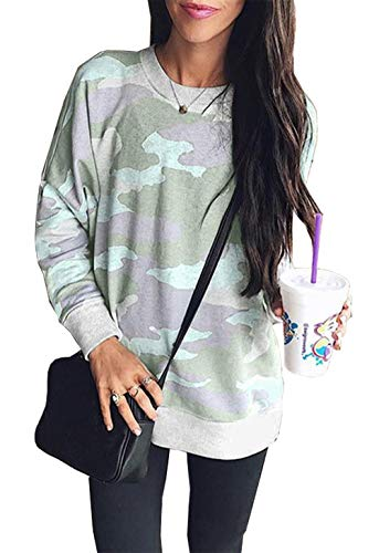 BTFBM Women Camouflage Print Long Sleeve Crew Neck Loose Fit Casual Sweatshirt Pullover Tops Shirts (Light Green, Large)