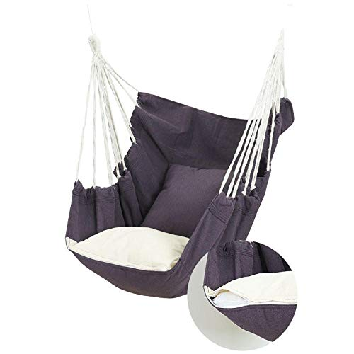 dehong XXL Swing Hammock Chair with Pillow + Tie Rope + Cushion,100x130cm (Load Capacity 200 kg) Purple Swing Sofa for Yard, Bedroom, Porch, Indoor/Outdoor