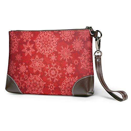 GLGFashion Damen Leder Clutch Bag Geldbörsen Christmas Red Snowflakes Printing Women's Leather Wristlet Clutch Purses Portable Makeup Cosmetic Bag Handbag Organizer Wallet With Zipper For Women Girls