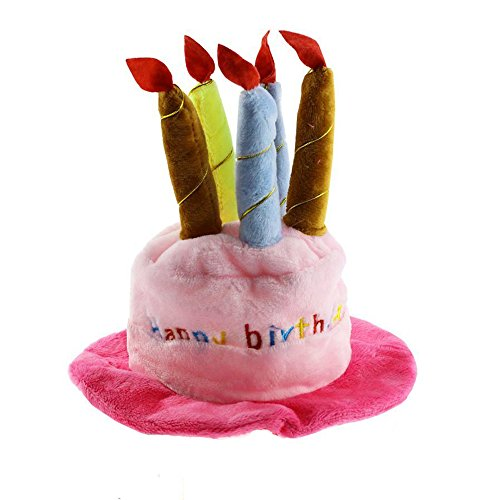 Dog Birthday Hat with Cake & Candles Design Party Costume Accessory Headwear (One Size Fits Most) (Pink)