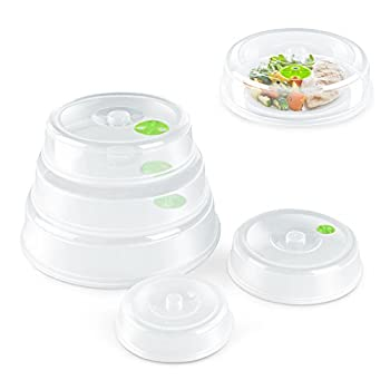 Flexzion Microwave Plate Cover Lid  5 Piece Set  - Dish Cover with Splatter Spatter Protection Guard Steam Ventilation Window Dish Washer Safe - Mixed Sizes For Large & Small Food Plates Bowls