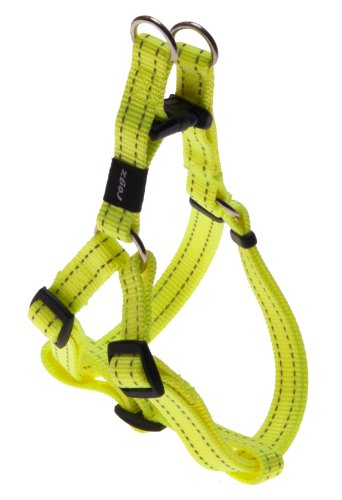 "Rogz Utility Medium 5/8-inch reflecterende snake verstelbare dog step in harness, Snake hondenservies, maat M, 5/8"" Medium, geel"