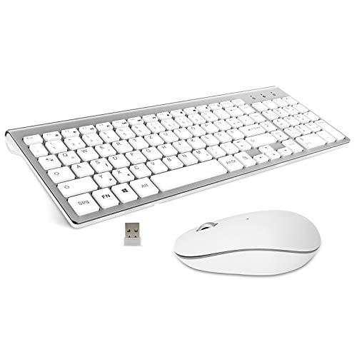 Ibera Tastatur Und Maus Set Kabellos,Ergonomische Ultraslim Tastatur und Maus QWERTZ 2.4G USB Wireless Kabellose Tastatur für Windows Mac, Computer,PC, Laptop, Smart TV- Silber