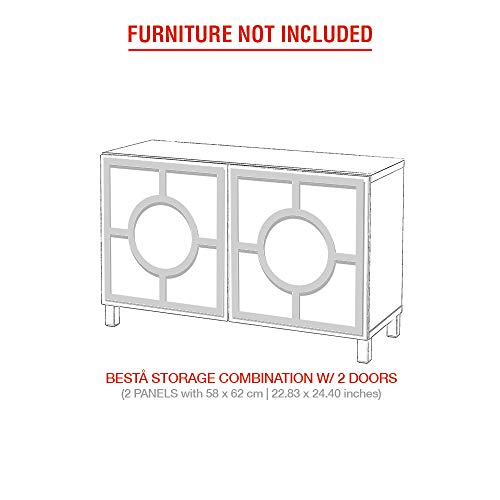Moonwallstickers.com IKEA Besta Kits - Juego de Adhesivos para Muebles IKEA BESTA, Gold Mirror, 2 Doors - Porto