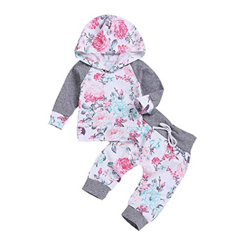 Hirolan Neugeborenes Kapuzenpullover Outfits 2 Stück Babykleidung Säugling Baby Strampler Junge Mädchen Blumen Oberteile Hose Trainingsanzug Jogginganzug Sportanzug (90, Weiß)
