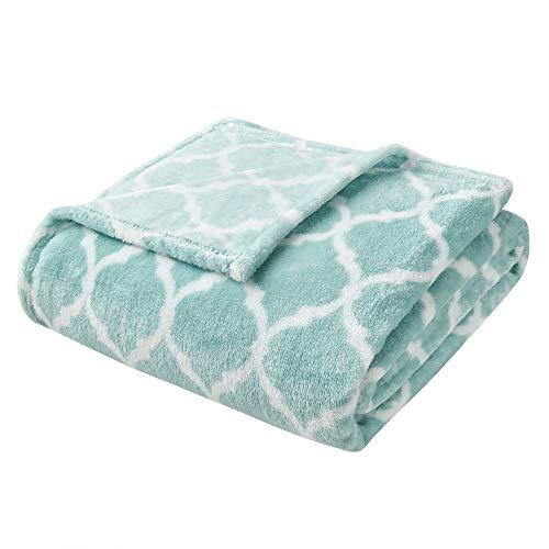 Madison Park Ogee Luxury Oversized Throw Aqua 6070 Premium Soft Cozy Microlight For Bed, Coach or Sofa