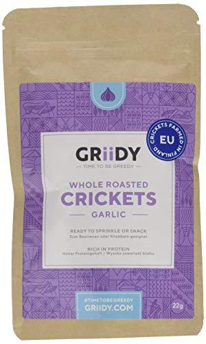 Griidy Garlic, Geröstete Grillen mit Knoblauch gewürzt für Pizza, Salate, Suppen oder zum Bier,  22 g (ca. 150 Stück)