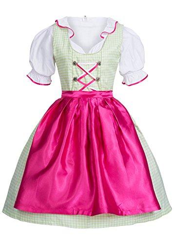 Mufimex Damen Dirndl Kleid Dirndlkleid Trachtenkleid Midi Kariert Grün Pink 44