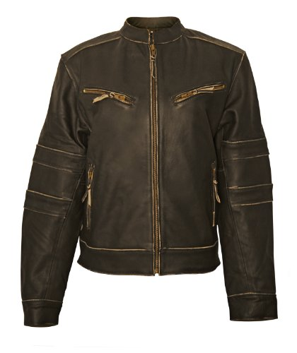 Big Sale Milwaukee Motorcycle Clothing Company Ladies Distressed Leather Jacket with Zip Out Liner (Black, Large)