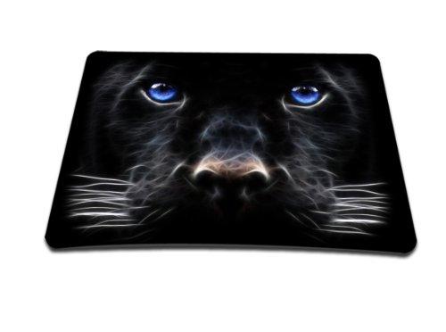 Luxburg® Design Mousepad Mausunterlage Mauspad, Motiv: Schwarzer Hund mit blauen Augen