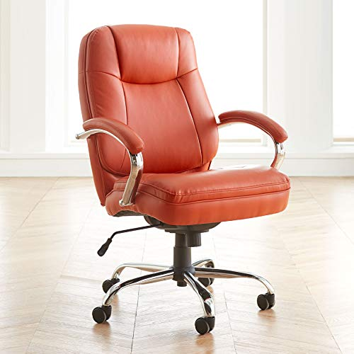 BrylaneHome Oversized Women's Office Chair Extra Wide (500 Lb. Capacity), Orange