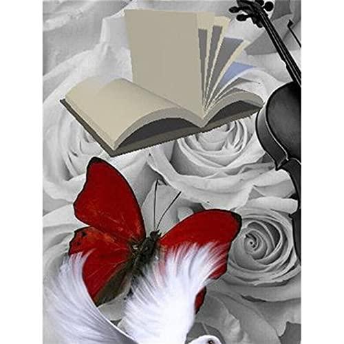 GHJGHJ Diamante Pintura Rosa Flores Imagen Bordado Punto de Cruz Mosaico Taladro Completo de la decoración de la casa Pegatinas de Pared Regalo Hecho a Mano (Color : 266, Size : Square Drill 60X80cm)