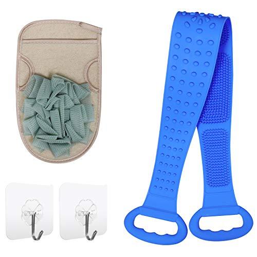 Hieha Körperbürste mit Peelinghandschuh Set,Silikon Rückenbürste zum Entfernen abgestorbene Haut, Cellulite und Verbesserung der Lymphfunktionen, Superweich Peelingbürste,Badebürste 80cm Blau