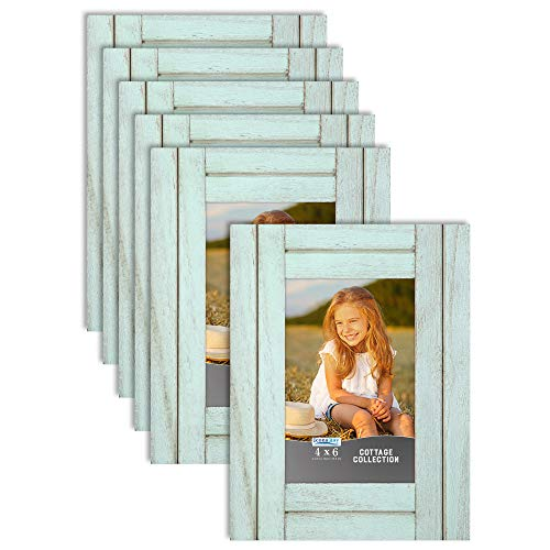 Icona Bay 4x6 (10x15 cm) Picture Frames (Eggshell Blue, 6 Pack), Rustic Picture Frame Set, Natural Real Wood Frames, Cottage Collection