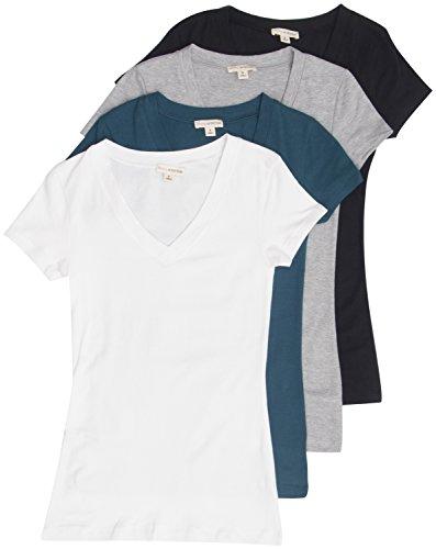4 Pack Zenana Womens Basic V-Neck T-Shirts Large Black, White, Teal, H Gray