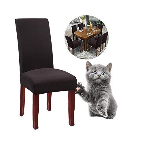 JunYito Stuhlhussen 4er 6er Elastische Set Stuhlhussen Universal Stretchhusse Stuhlbezug Stretch für Stuhl Esszimmer (L-Braun/Kaffee, 6 Stücke)