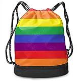 Ovilsm Turnbeutel Hipster Sporttaschen Rainbow Pride Stripes Gay Drawstring Bag Rucksack Shoulder Bags Travel Sport Gym Bag Print - Yoga Runner Daypack Shoe Bags with Zipper and Pockets