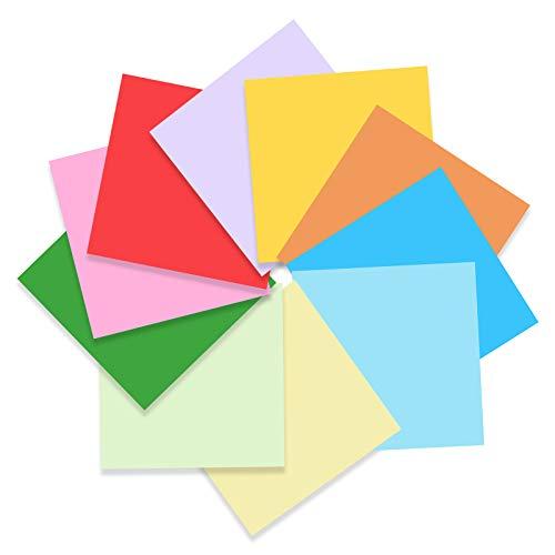 100 hojas de origami, 10 colores de papel de origami cuadrado de 6 x 6 pulgadas, uso para cumpleaños, aula, regalos de fiesta, lecciones de manualidades escolares
