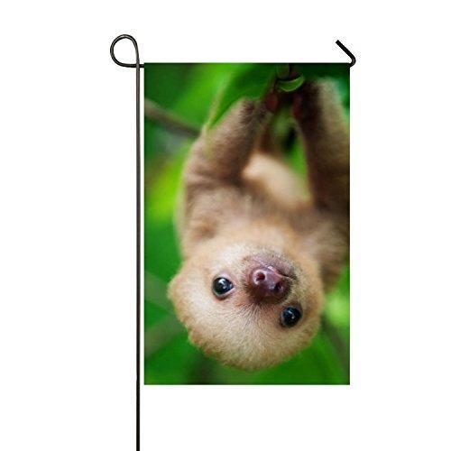 MERCHA Résistant à la Décoloration Polyester personnalisé Drapeau Décoration Personnalisée Cute Sloths en Arbres Jardin Drapeau extérieur Welcome Home