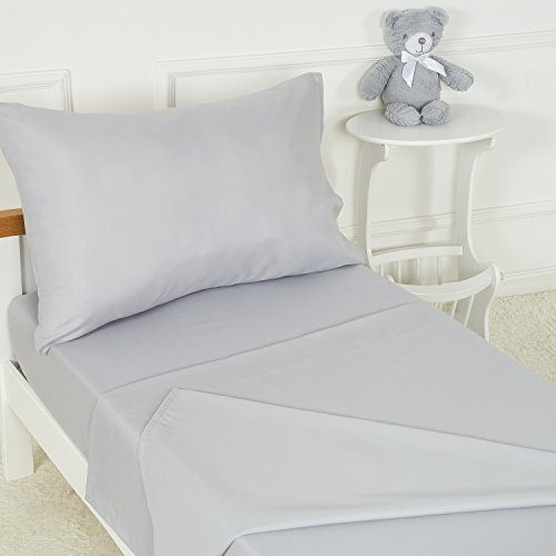 TILLYOU 3-Piece Softer Microfiber Toddler Sheet Set (Silver Gray, Fitted Sheet, Top Flat Sheet and Envelope Pillowcase) - Silky Soft Crib Sheets Toddler Bed Set - Baby Bedding Sheet & Pillowcase Sets