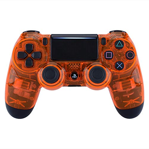 eXtremeRate Transparent Crystal Clear Orange Front Housing Shell Faceplate Cover for Playstation 4 PS4 Slim PS4 Pro Controller (CUH-ZCT2 JDM-040 JDM-050 JDM-055)