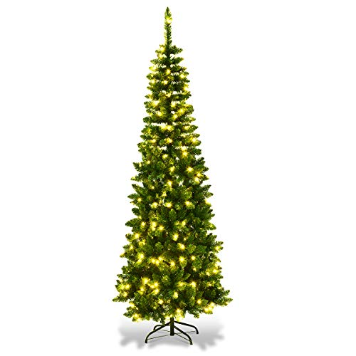 SHATCHI 4Ft-8Ft Pre-Lit Artificial Slim Christmas Pencil Tree Holiday Home Decorations, Pointed Tips, Multicolour LEDs and Metal Stand, Green W/Warm White, 7Ft