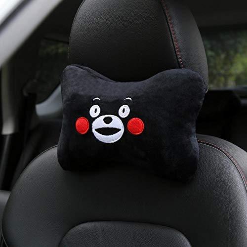 WSS Shoes Almohada para el cuello de la cabeza de viaje, almohada de lino para el cuello del coche, cojín para el reposacabezas del asiento de coche (color: negro)