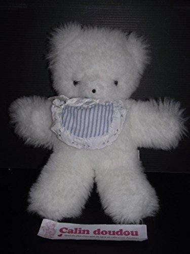 X- otros–Doudou peluche Vintage c.d.j oso blanco babero azul...