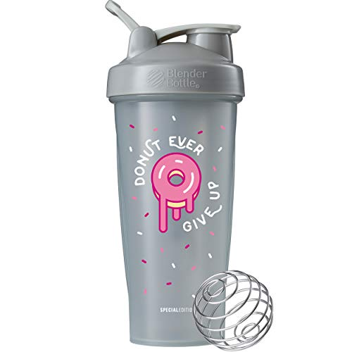 BlenderBottle Just for Fun Classic 28-Ounce Shaker Bottle, Donut Ever Give Up