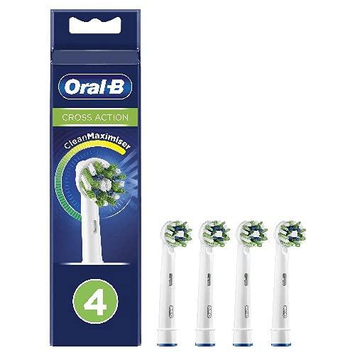 Oral-B CrossAction Testine di Ricambio per Spazzolino Elettrico con Tecnologia CleanMaximiser, Confezione da 4 Pezzi