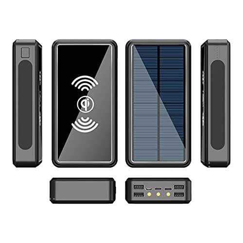 AP.DISHU Cargador Solar Movil, Power Bank Solar Batería Externa De Carga Rápida Cargador Portatil Movil Inalámbrico con 4 Puertos USB Powerbank Solar para Smartphones, Tablet Etc,Negro,50000mAh