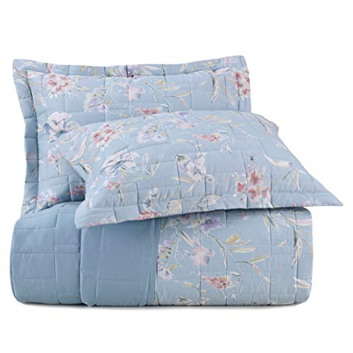 Jogo de Colcha Casal Essence Camp de Fleurs Altenburg Azul Tecido