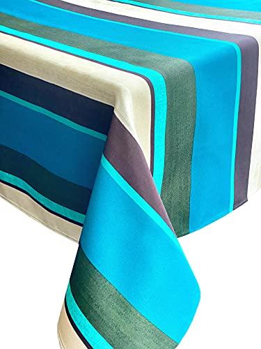 Mantel antimanchas en varios tamaños, formas y colores. Mantel redondo a rayas azules hecho a mano diámetro 120 cm 100% poliéster mantel jardín