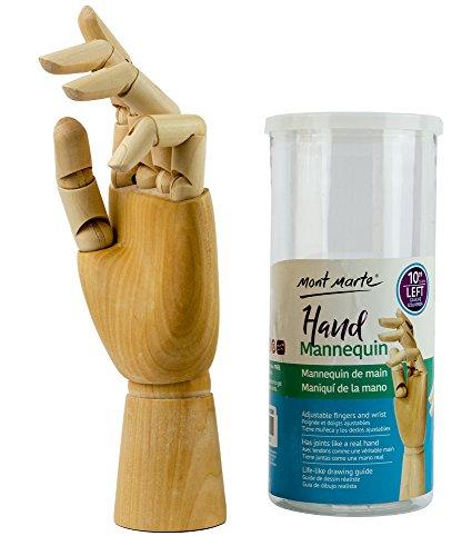 Mont Marte Gliederhand - Modellhand aus Holz - Linke Hand - 25,4 cm Mannequin - Flexible Holzhand, ideales Model zum Zeichnen - Perfekte Malhilfe für Anfänger, Profis und Künstler