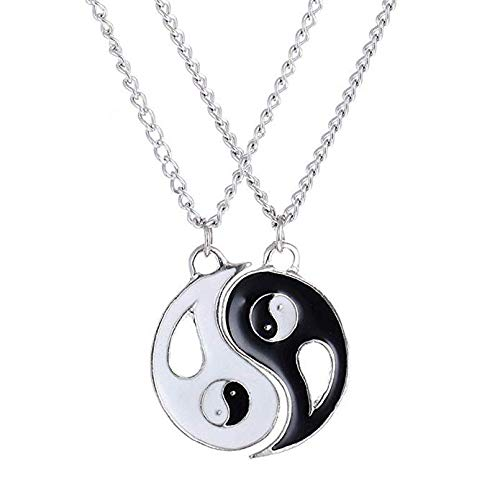 Metmejiao Best Friend Necklaces Heart 2 Piece Gifts Women Teen Girls Friendship BBF Pendant Necklace Set Tai Chi Yin Yang Eight Diagrams Pendant Necklace