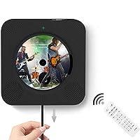 CDプレーヤー YACEG【第十代】置き&壁掛け式ステレオ音楽システム LEDディスプレイ Bluetooth/FM/USB対応 AUXオーディオインプット/アウトプットリモコンと3.5mmイヤホンジャック付き 日本語説明書 (Black-FBA) (黒)