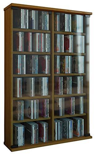 VCM Zuntisa Estante Mural para colección de CDs y DVDs, Roble rústico, 91,5x60x18 cm