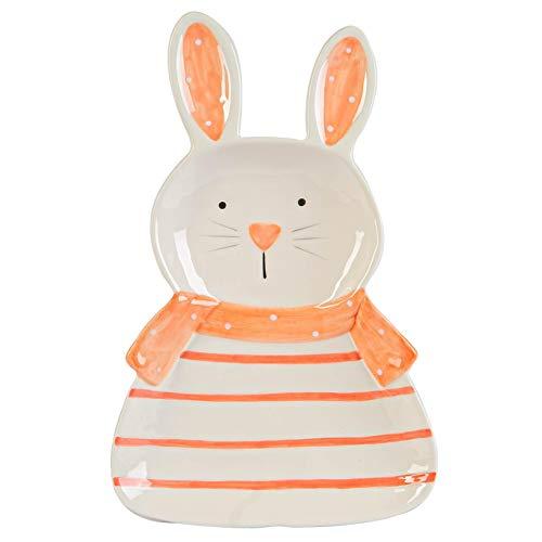 Nicola Spring Conejo de Pascua Plate - pintado a mano bufé Partido Utensilios para servir Vajilla - 17cm - Blanco