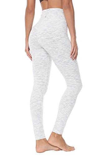 QUEENIEKE Damen Yoga Leggings Hosen Trainings Laufende Pfirsich HüfteFarbe Weiß Space Dye Größe M(8/10