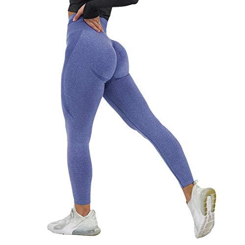 Vertvie Leggings para mujer, opacos, sin costuras, largos, de cintura alta, elásticos, de fitness, elásticos, de secado rápido, pantalones de entrenamiento para gimnasio marine S