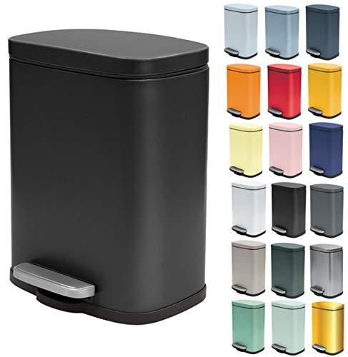 Spirella Kosmetikeimer 5 Liter Edelstahl mit Absenkautomatik und Inneneimer Akira Badezimmer Mülleimer Softclose Abfalleimer schwarz matt