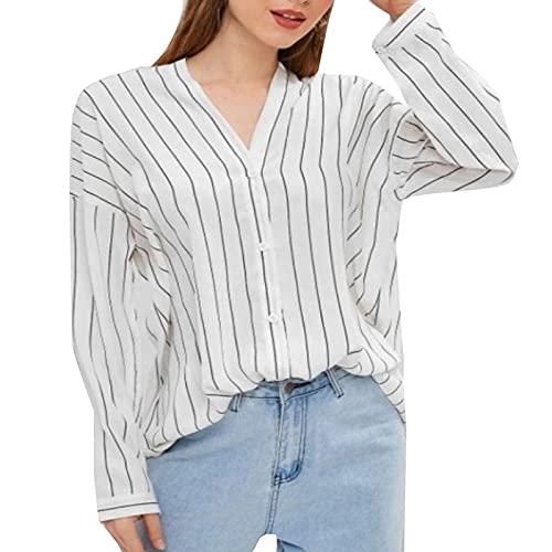Camisas Mujer de Rayas Color Sólido Manga Larga Cuello V Elegantes Camisetas Mujer con Botones Blusones Mujer Suelto y Transpirables para Otoños Tops Casual para Damas