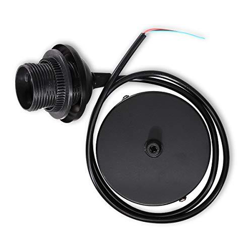 kwmobile E27 Lampenfassung mit Deckenbefestigung - Lampenaufhängung schwarz mit 80cm Kabel - Schnurpendel Pendelleuchte Hängeleuchte Lampenschirm