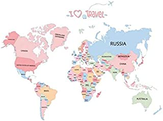 Kids Bedroom DIY Wall Sticker World Map Home Bedroom Room Decor Removable Wall Decal Poster Decoration (Colorful)