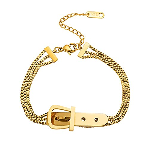 Huakaimaoyi Pulsera de imitación de oro de 18 quilates de múltiples capas para mujer,