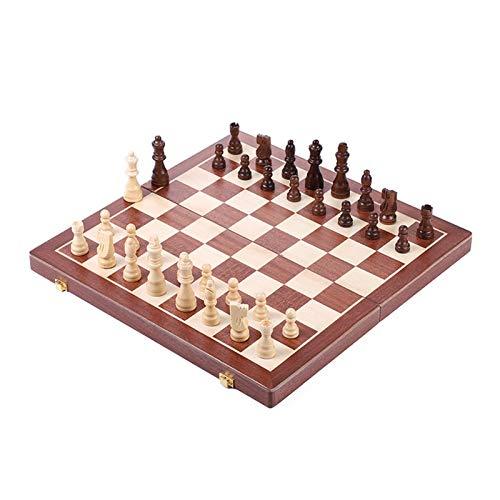 WAYYQX Schachspiel aus Holz Schach 2 In 1 Classic Family Board Spiele Spielzeug Faltbare Schachbrett Schachbrett Tisch Spiel Checkers Schach-Set (Color : 1set)
