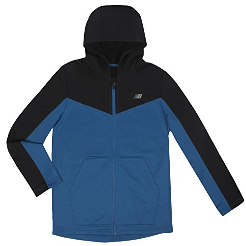 New Balance Boys' Big Athletic Full Zip Hooded Jacket, Black/Laser Blue, 18/20