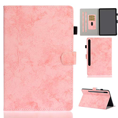 Hfly Suitable for Samsung Galaxy Tab S7 Case SM-T870/ T875, [Card Holder] Shockproof Premium PU Leather Cover Multi-Angle Stand Business Case for Galaxy Tab S7 (11') [Pink]