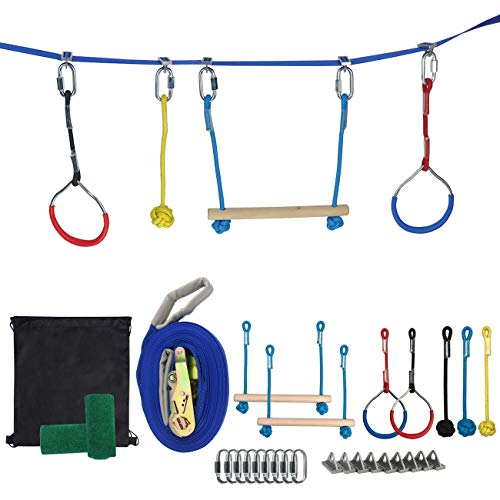 Find Bargain Ogrmar Outdoor Ninja Line Hanging Obstacle Course/Slackers Backyard Ninja Line Accessor...